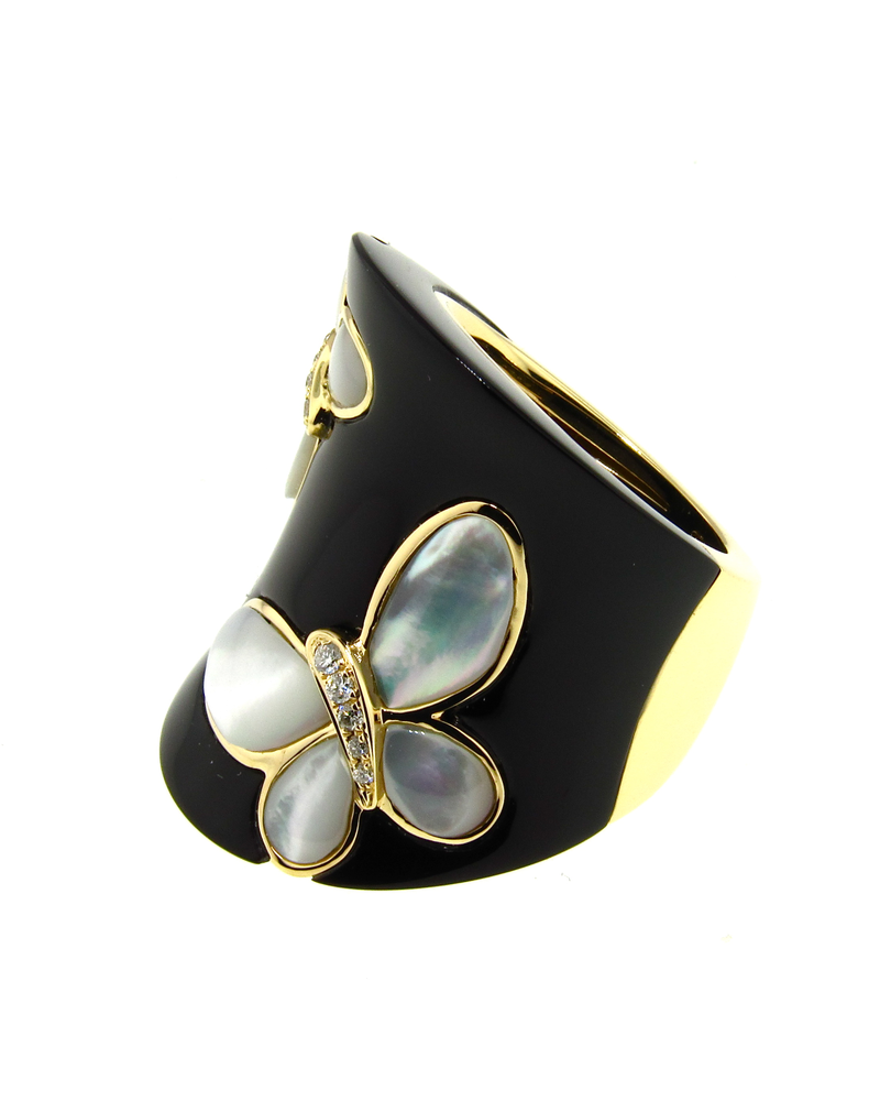 Black Agate Ring, Mother of Pearl Butterfly, Diamonds, Yellow Gold