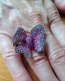 Gold Earrings, Bow Ring, Gemstones, Multicolor Sapphires, Diamonds, Finger