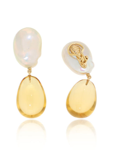 Unique, Citrine, Cabochons, Earrings, Fresh Water Pearls, Gemstone Earrings