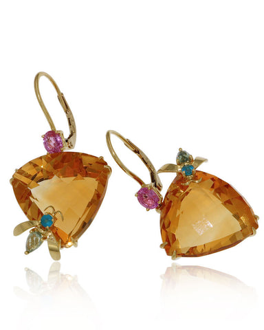 Gold Earrings, Citrine, Gemstone Earrings, Pink Sapphire