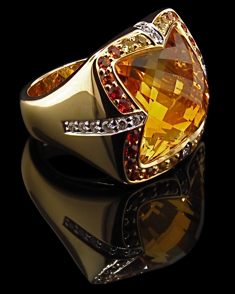 Citrine Checkerboard cut Ring with Diamonds