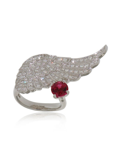 Diamond Wing Ring, Pink Tourmaline