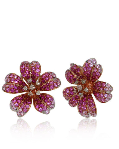 Flower, Gemstone Earrings, Pink Sapphires, Ruby, Diamonds