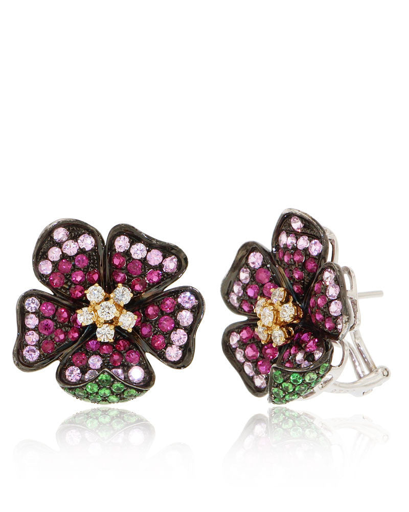 Gemstone Flower Earrings, Pink Sapphires, Rubies, Diamonds