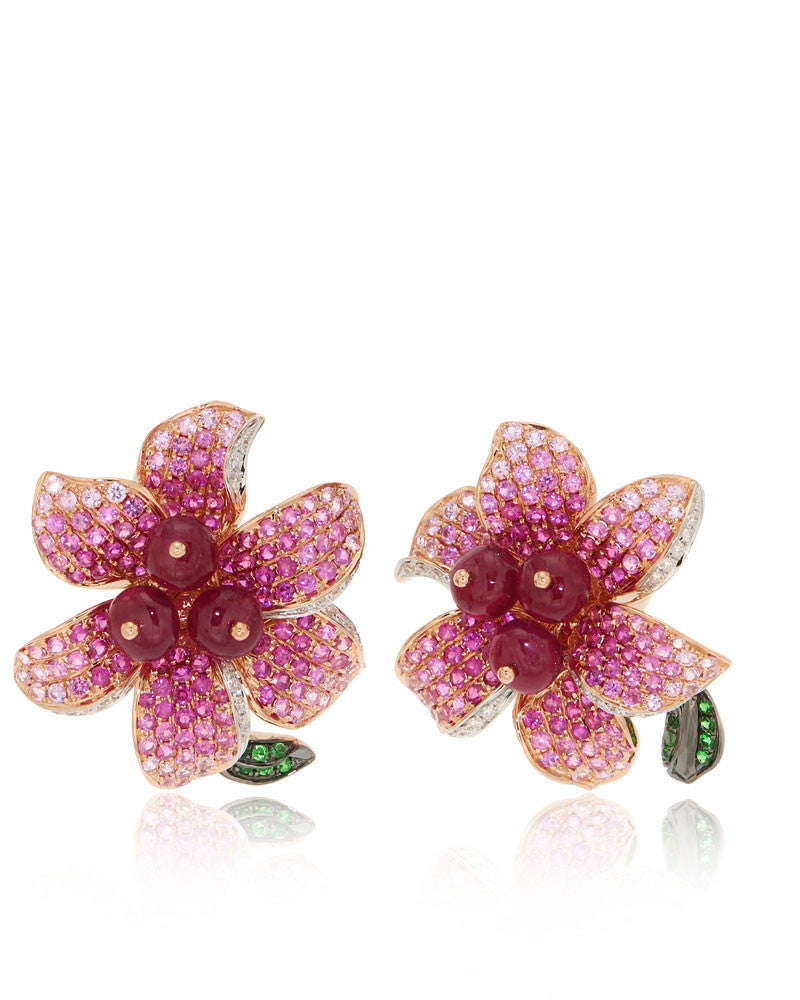 Pink Sapphires, Diamonds, Gemstone Flower Earrings