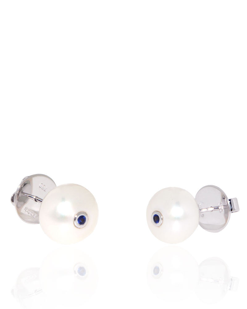 Button Freshwater Pearls, Blue Sapphire, White Gold