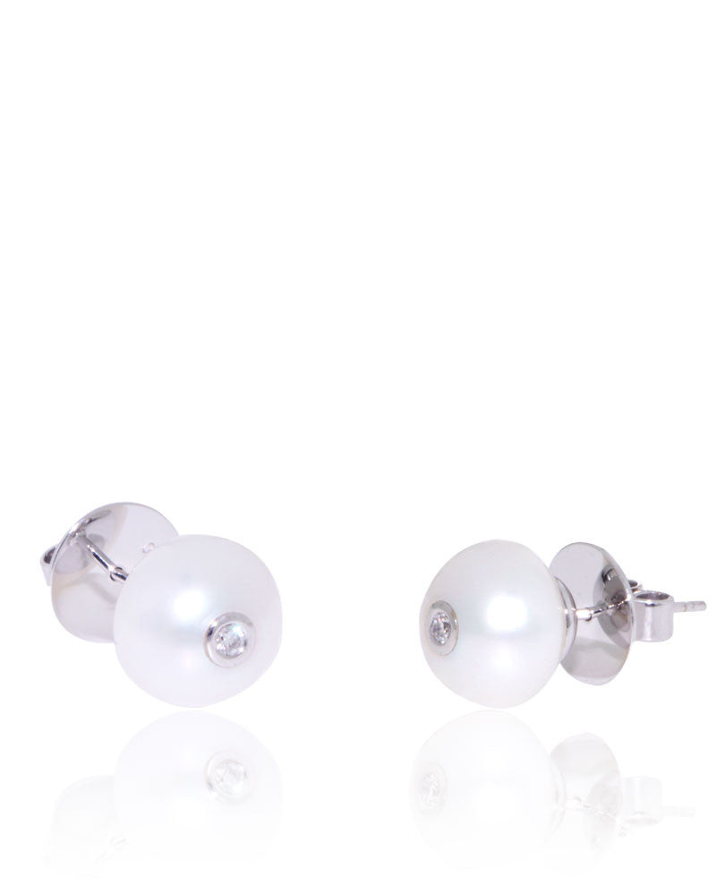 Button Freshwater Pearls, Diamond, White Gold