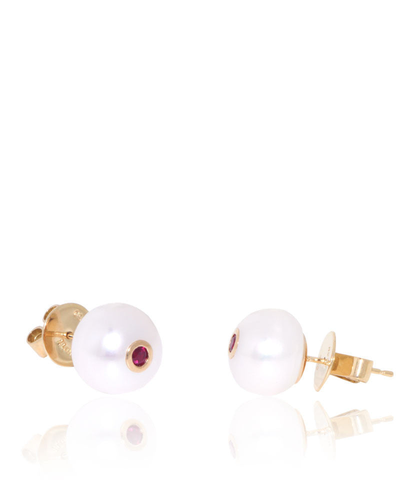 Button Freshwater Pearls, Ruby, Yellow Gold