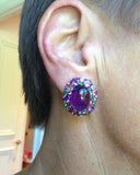 Gold Earrings, Gemstone Earrings, Amethyst Cabochons, Pink tourmaline, diamonds, ear
