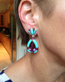 Gold Earrings, Amethyst, Turquoise, Pink Sapphire, Diamond, Gemstone Earrings, Ear