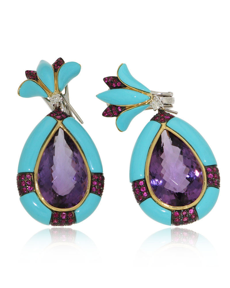 Gold Earrings, Amethyst, Turquoise, Pink Sapphire, Diamond, Gemstone Earrings
