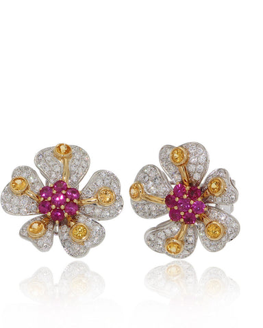 Gemstone Flower Earrings, Sapphires, Diamonds, Rubies