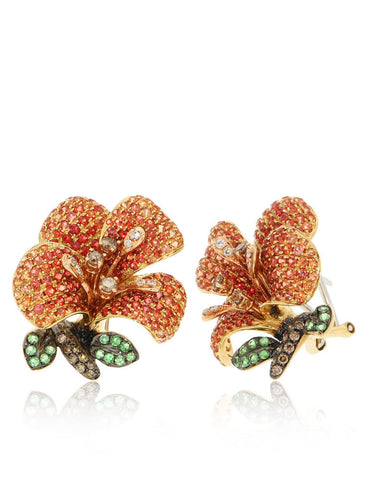 Orange Sapphire, Gemstone Flower Earrings, Diamonds