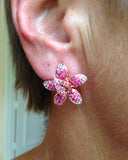 Orchid, Gemstone Earrings, Sapphires, Ruby, Diamonds, Ear