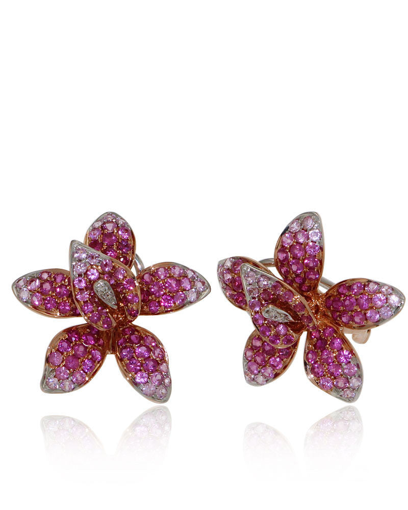 Orchid, Gemstone Earrings, Sapphires, Ruby, Diamonds