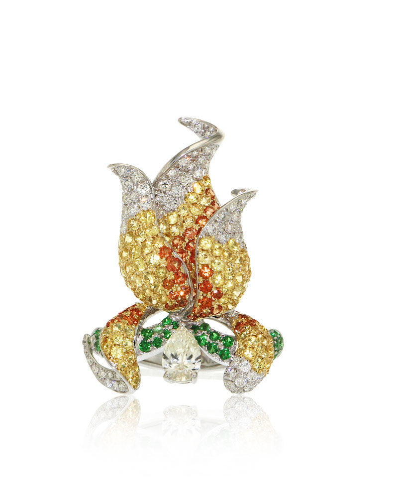 Gemstone Ring, Pear Shape Diamond, Yellow Orange Sapphires