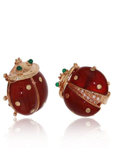 Red Agate, Gemstone Earrings, Diamonds