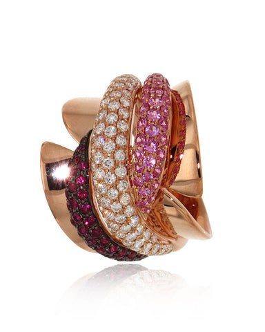Gemstone Ring, Rose Gold, Pink Sapphires, Rubies