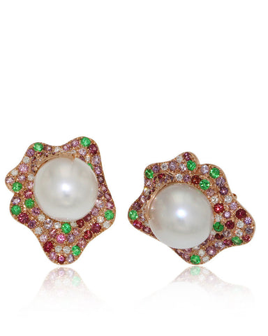 Gemstone Earrings, Sapphires, Diamonds, South Sea Pearls