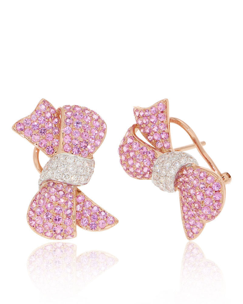 Unique, Bow Earrings, Pink Sapphire, Elegant, Gemstone Earrings