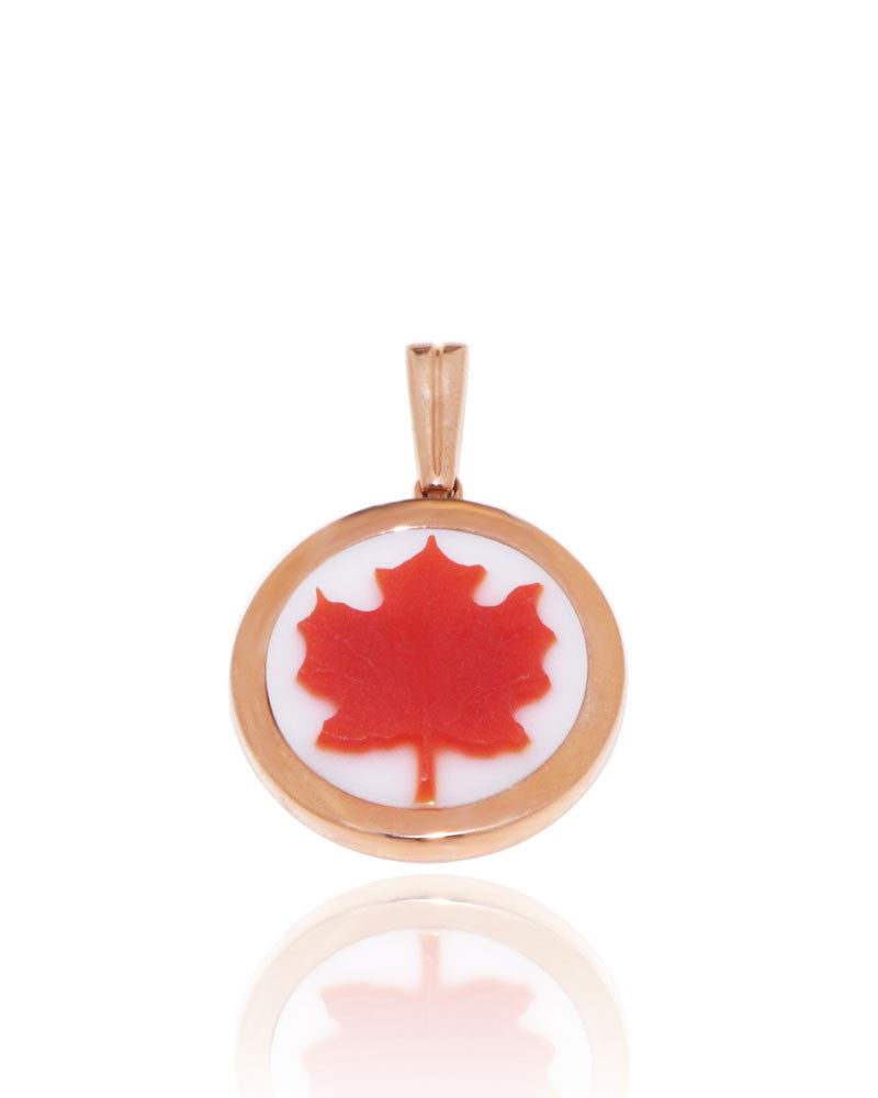 Maple leaf cameo pendant in white and red agate 15 mm round new maple leaf cameo pendant in white and red agate 15 mm round aloadofball Gallery