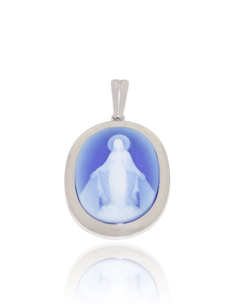 Milagrosa cameo pendant in blue agate 20x15 mm oval new wave milagrosa cameo pendant in blue agate 20x15 mm oval aloadofball Images