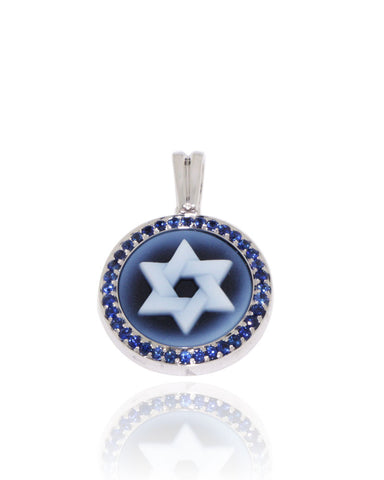 White Gold, Blue Sapphires, Unique, Cameo Pendant, Star of David, for women