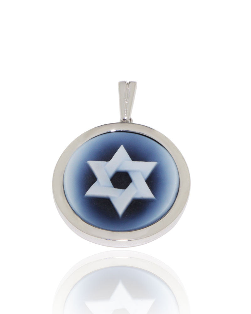 White Gold, Star of David, Black Agate, Unique, Cameo Pendant, for women