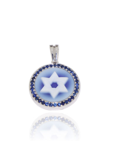 White Gold, Blue Agate, Blue Sapphires, Star of David, Unique, for women