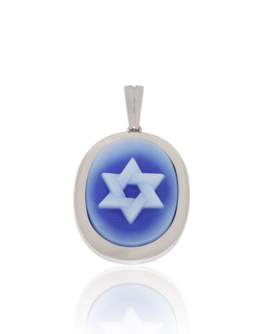 White Gold, Blue Agate, Star of David, Cameo Pendant, Unique, for women