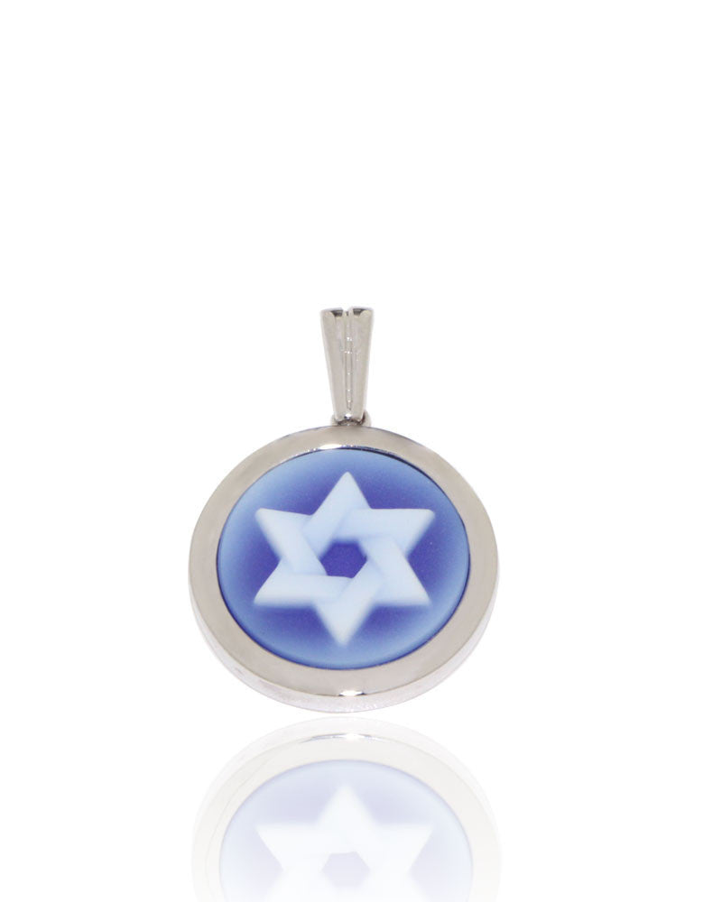 White Gold, Star of David, Cameo Pendant, Unique, for women
