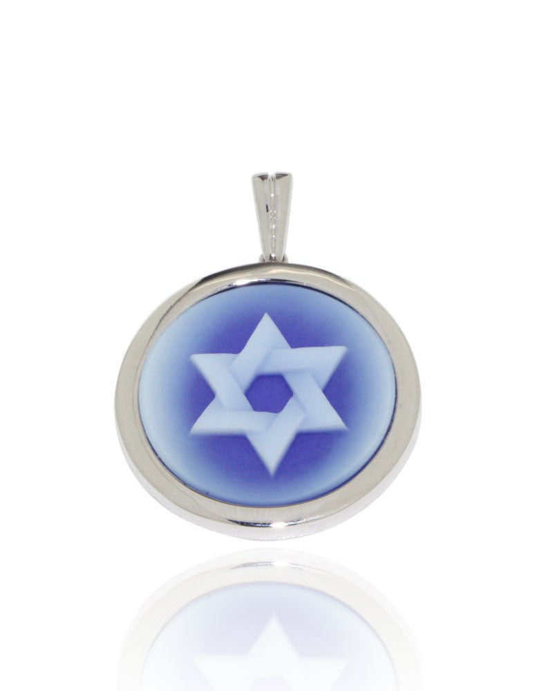 White Gold, Blue Agate, Cameo Pendant, Star of David, Unique, for women