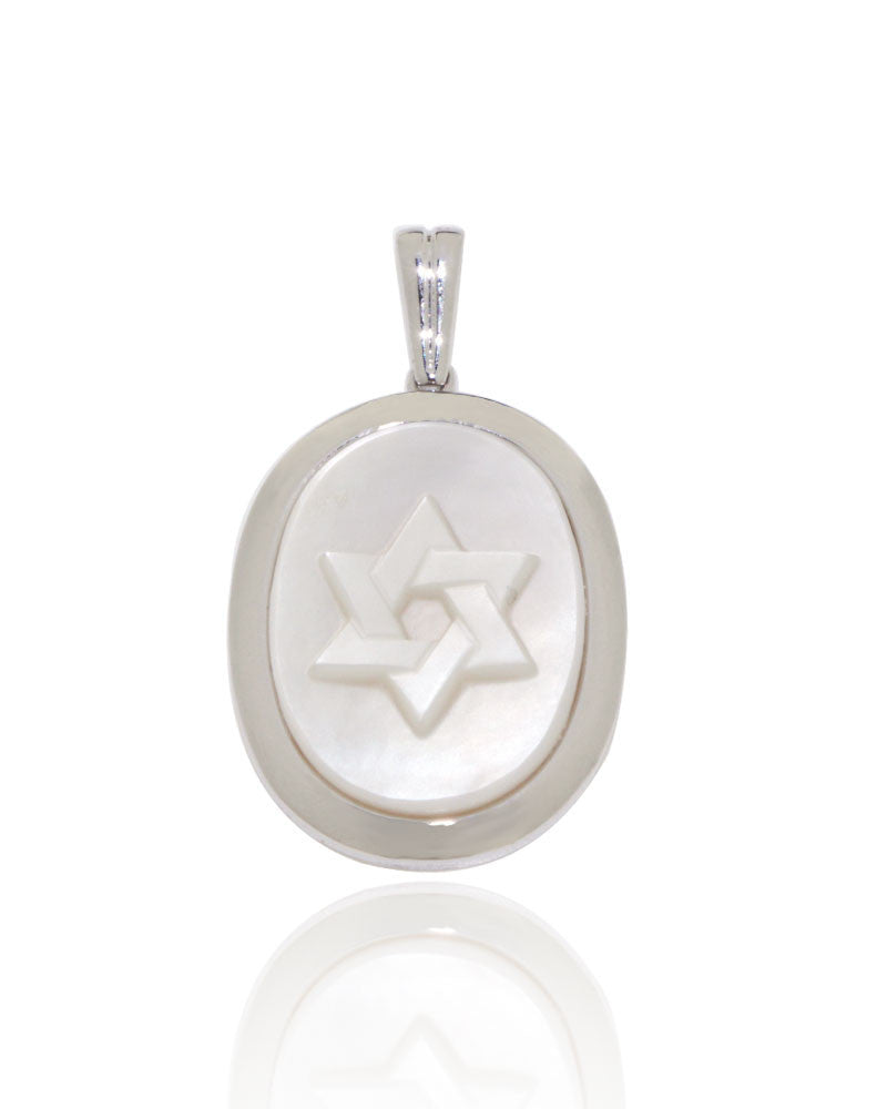 Star of david cameo in mother of pearl 20x15 mm oval new wave white gold star of david cameo pendant unique for women aloadofball Images
