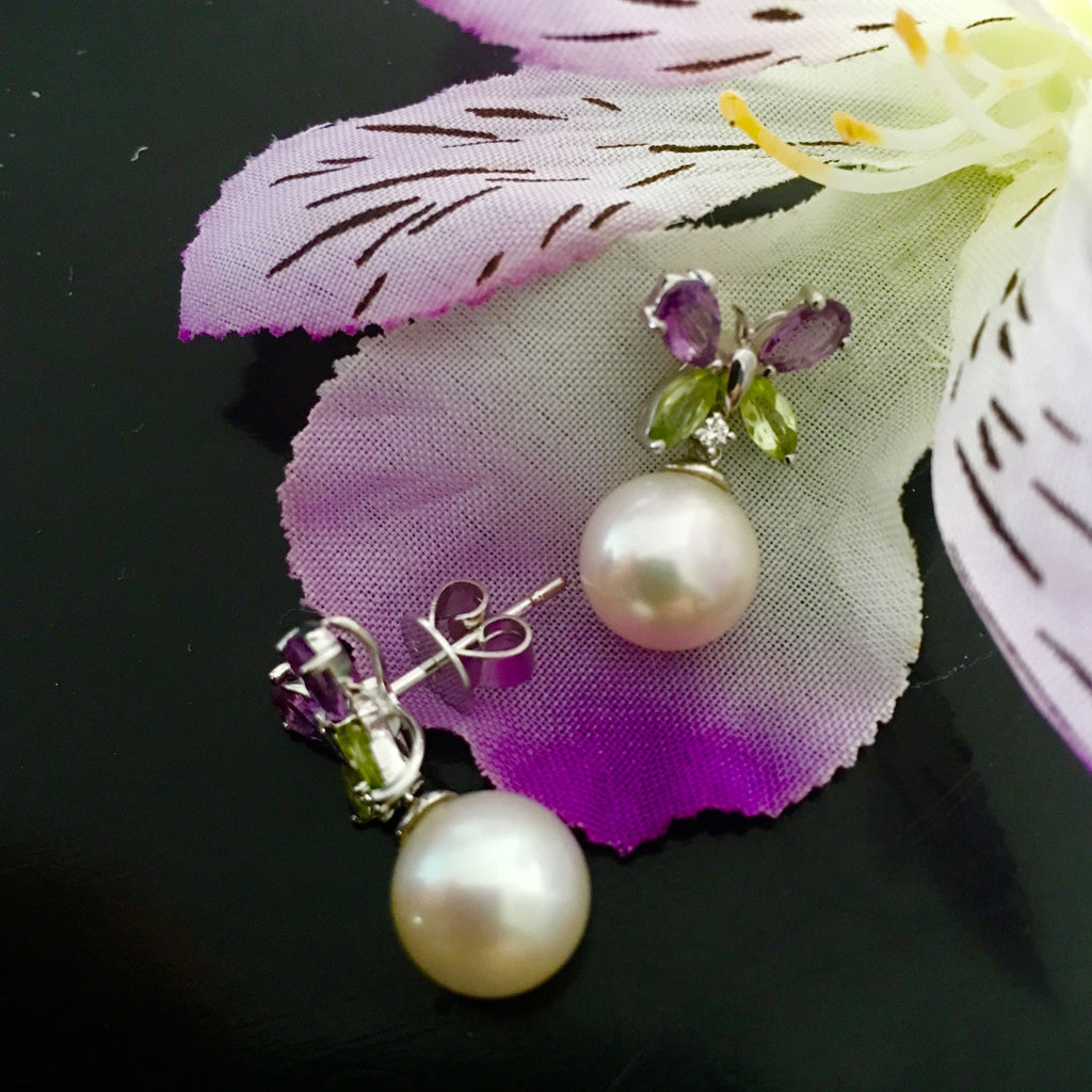 necklaces amethyst handcrafted beaded peridot and water handknotted fresh necklace freshwater gemstone pearls handmade pearl