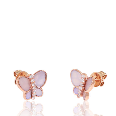 Rose Gold Earrings, Mother of Pearl, Butterfly, Unique, for women, Gemstones, Diamonds