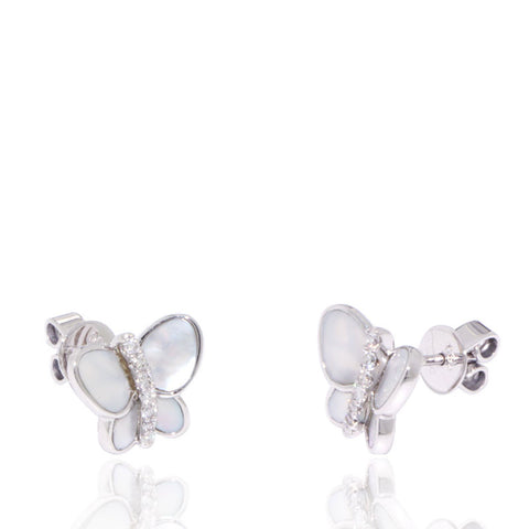 White Gold Earrings, Mother of Pearl, Diamonds, Unique, for women, Butterfly