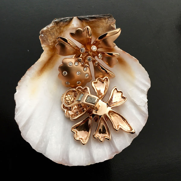 Orchid Trellis New Diamontrigue Jewelry: Rose Gold Orchid Diamond Earrings