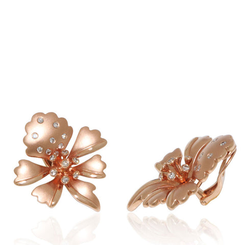 Rose Gold Earrings, Cattleya Orchid, Diamonds, Unique, for women