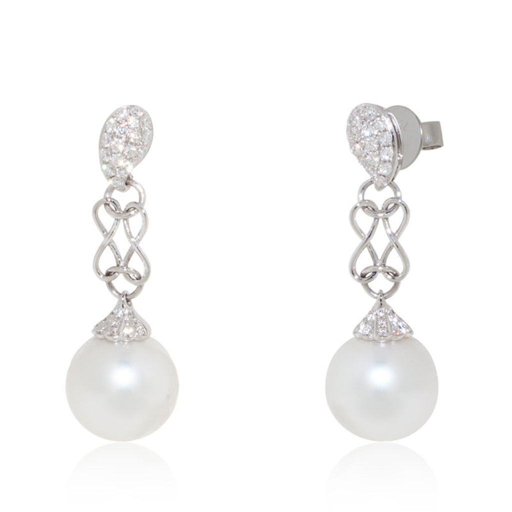 White Gold Earrings, Pearl Earrings, Diamond Earrings, Unique, for women, Diamonds