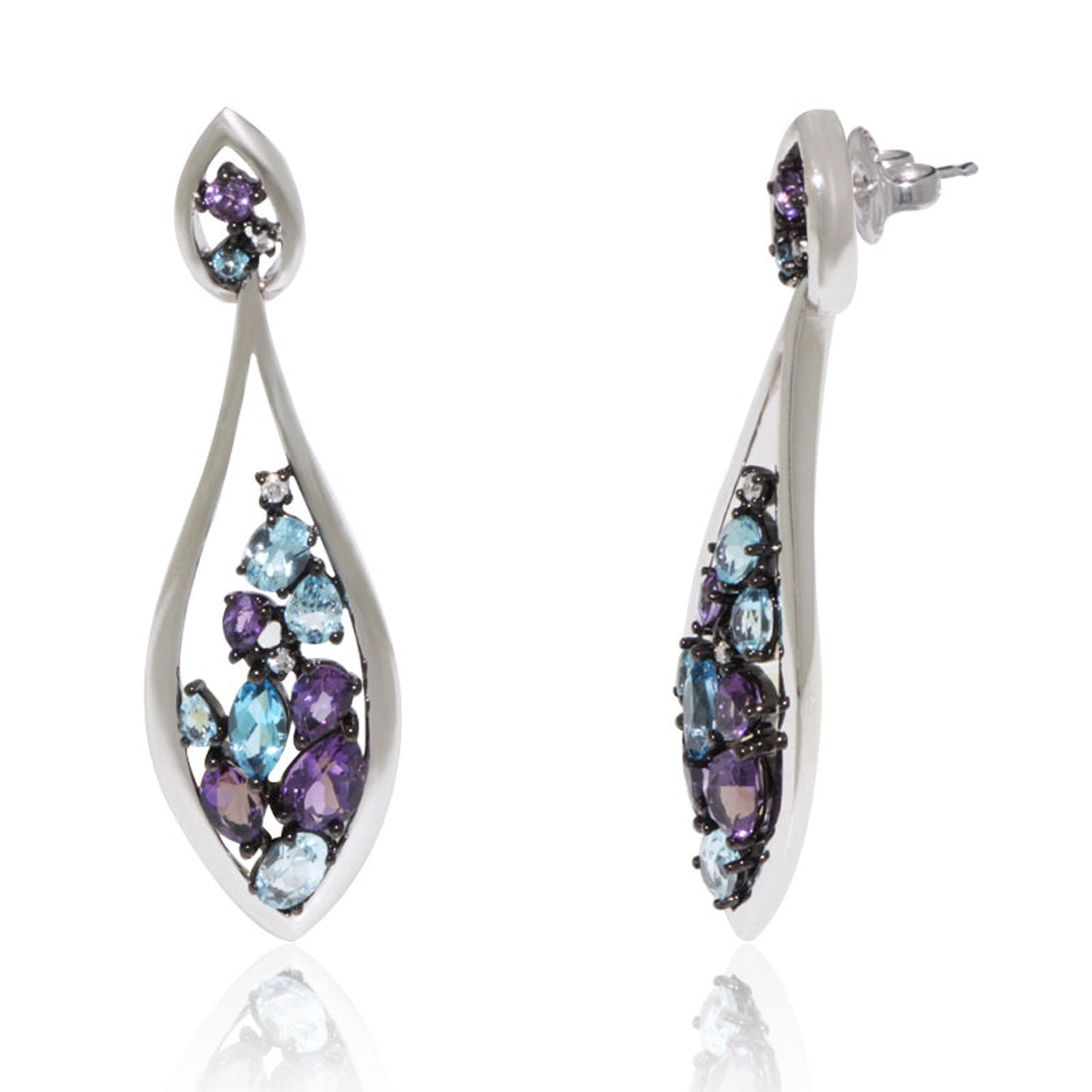 Dangling White Gold Earrings with Blue Topaz and Amethyst – New