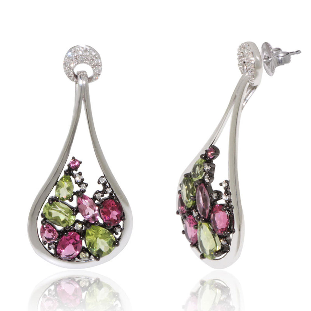 White Gold Earrings, Peridot, Pink Tourmaline, Diamond, Gemstone, Unique, for women