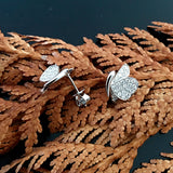 White Gold Earrings, Unique, Diamond Earrings, Butterfly