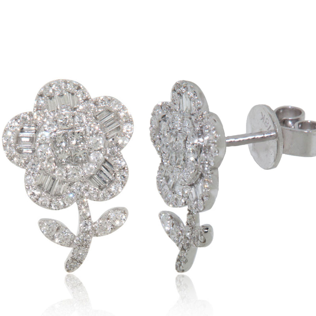 White Gold Earrings, Diamond Earrings, Diamonds, Unique, Flower, for women