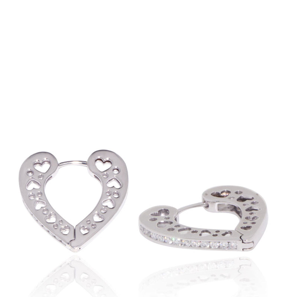 White Gold Earrings, Diamonds, Heart Shape, Unique, Diamond Earrings