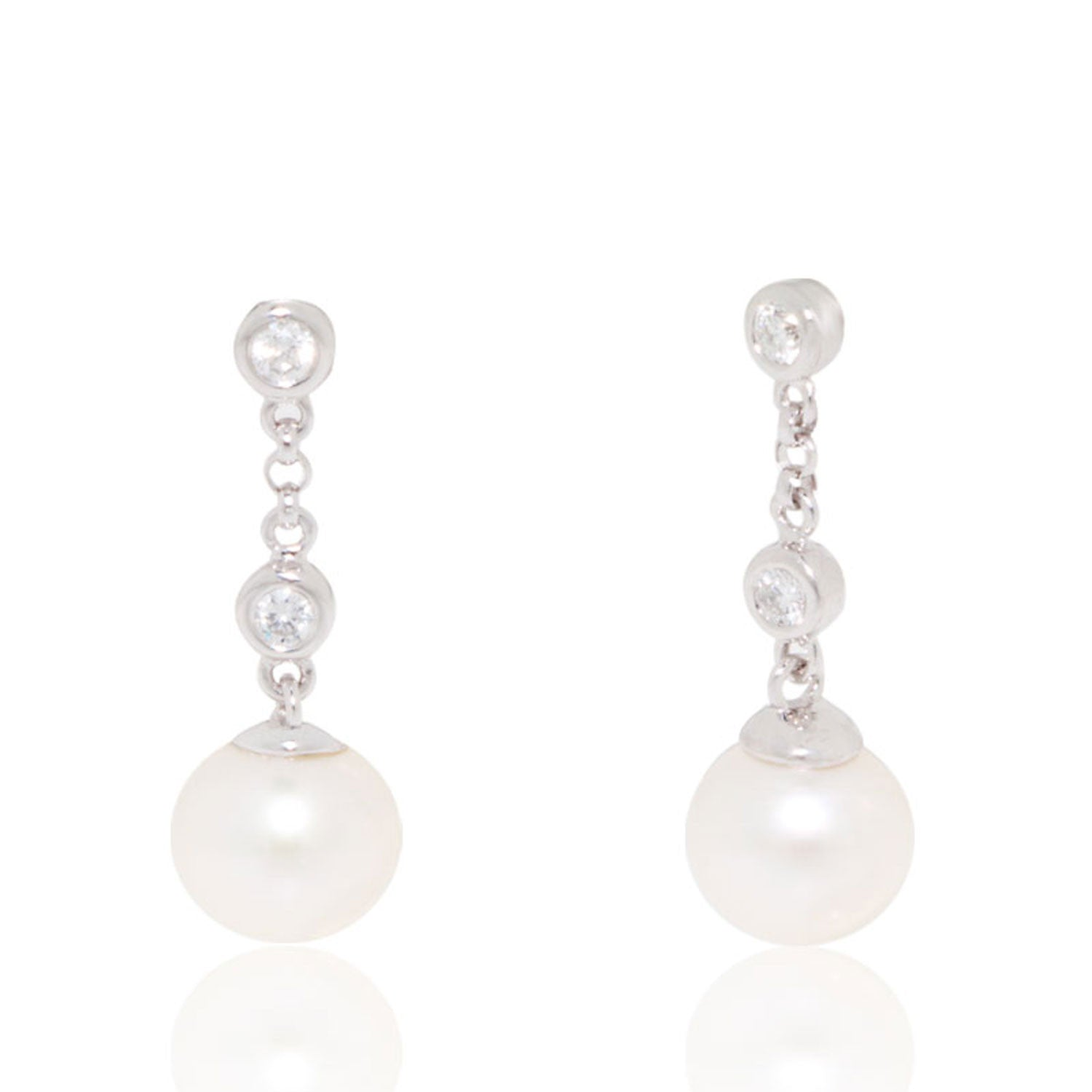 Diamond and Pearl 8mm Drop Earrings – New Wave Jewellery