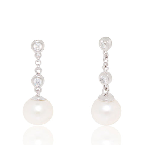 White Gold Earrings, Diamonds, Tripple Drop, Pearl Earrings, Unique, for women