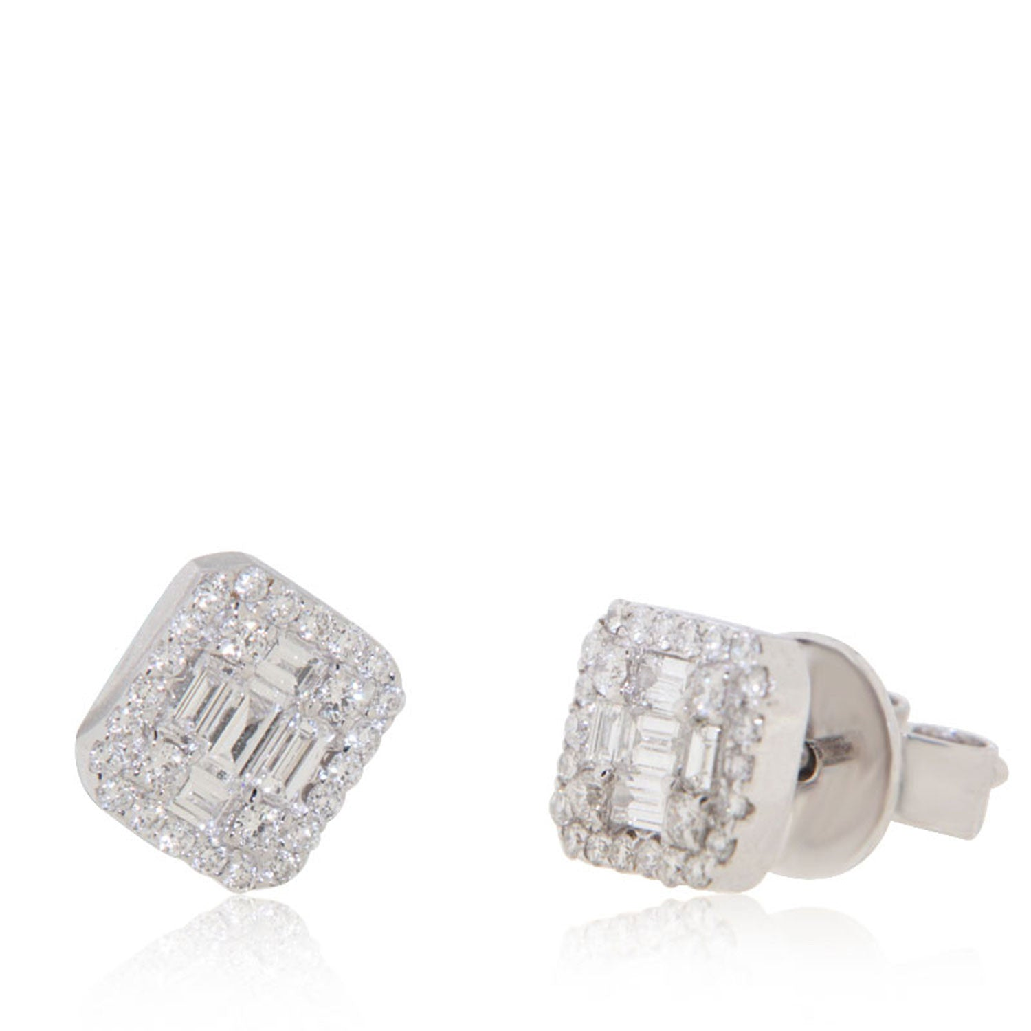stud rectangular l gold with halo diamond cz white mm earrings