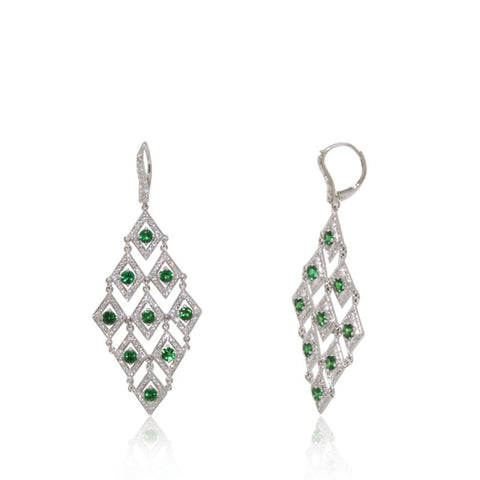 White Gold Earrings, Chandelier, Diamonds, Tzavorite, Gemstone, Unique, for women