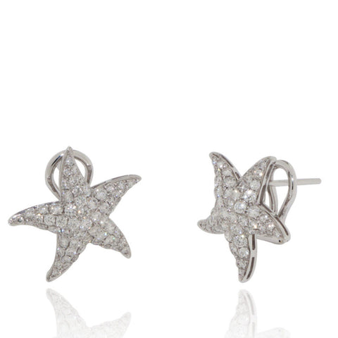 White Gold Earrings, Diamond Earrings, Starfish, Unique, for women