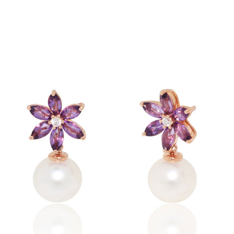 Pearl Earrings, 18k Yellow gold, Amethyst,fresh water pearl, Flower Earrings, for women, unique